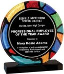 Round Stained Glass Acrylic with Black Base Achievement Awards
