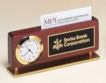 Rosewood Piano Finish Clock With Business Card Holder Business Card Holders