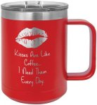 Coffee Mug Tumber - 15oz - Red Coffee Stainless Steel Tumbler