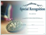 Special Recognition Fill in the Blank Certificates - Full Color