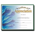 Appreciation  Fill in the Blank Certificates - Full Color
