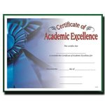 Academic Excellence Fill in the Blank Certificates - Full Color