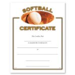Softball Fill in the Blank Certificates - Full Color