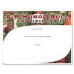 A-B Honor Roll Fill in the Blank Certificates - Special Order