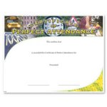 Perfect Attendance Fill in the Blank Certificates - Special Order