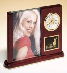 Rosewood Piano Finish Photo Desk Clock Photo Gift Items