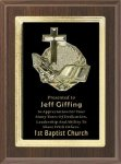 Cherry Finish Plaque with Religious Plaque Mount Religious Awards