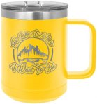 Coffee Mug Tumbler - 15oz - Yellow Stainless Steel Tumblers