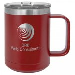 Coffee Mug Tumbler - 15oz -  Maroon Stainless Steel Tumblers
