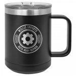 Coffee Mug Tumber - 15 oz - Black Stainless Steel Tumblers