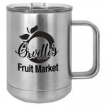 Coffee Mug Tumbler - 15oz - Silver Stainless Steel Tumblers