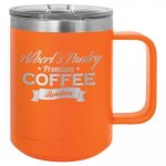 Coffee Mug Tumbler -  15oz - Orange Stainless Steel Tumblers