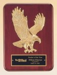 Rosewood Piano Finish Plaque with Gold Eagle Casting Wood Metal Accent Awards