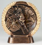 Resin Plate -Fireman Wreath Sculptured Awards