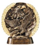 Resin Plate -Eagle On Flag Wreath Sculptured Awards