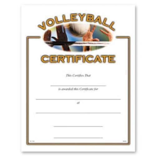 Volleyball Certificate Awards